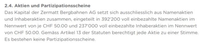 Zusammensetzung des Aktienkapitals bei der Zermatt Bergbahnen AG