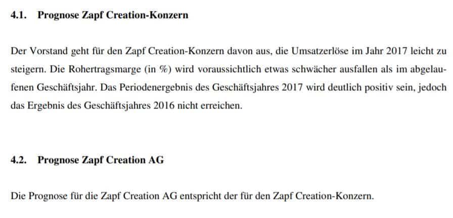 Das Management von Zapf Creation gibt eine Prognose zum Geschäftsjahr 2017 ab