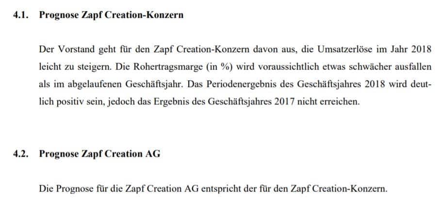 Das Management von Zapf Creation gibt eine Prognose zum Geschäftsjahr 2018 ab