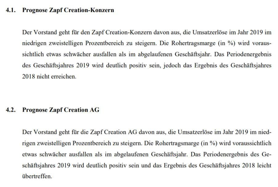 Das Management von Zapf Creation gibt eine Prognose zum Geschäftsjahr 2019 ab