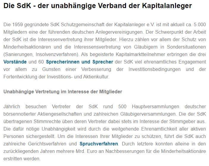 Die Sdk ist eine der führenden Anlegervereinigungen Deutschlands